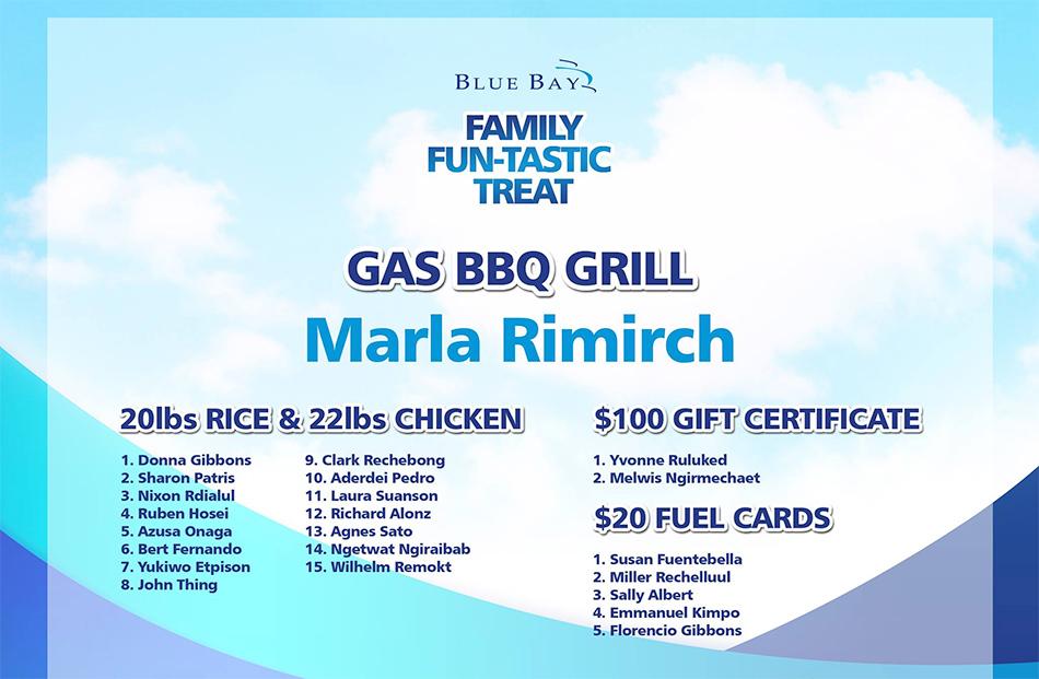 bluebay family treat winners